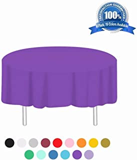 Plastic Tablecloth 6 Pack Disposable Round Table Cloths 84in. x 84in. Table Covers for Parties Birthdays Picnic Weddings Christmas Indoor or Outdoor Use(Dark Purple)