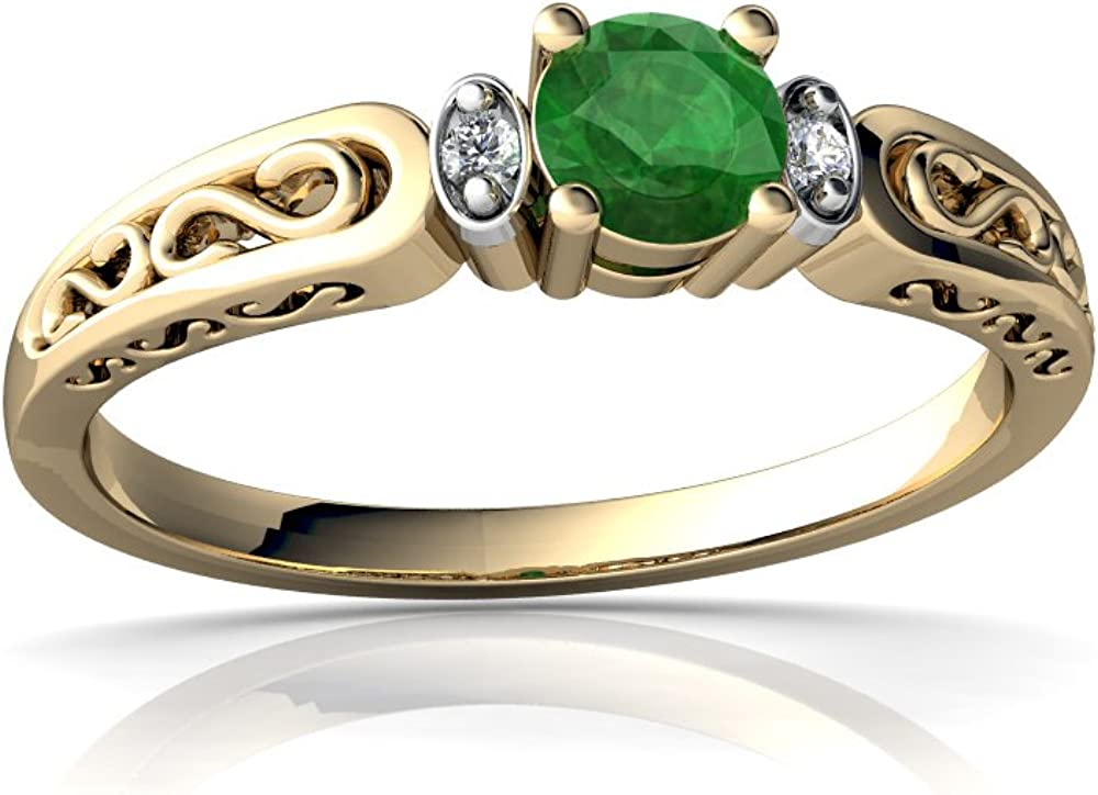 14kt Gold Emerald Super special price and Diamond filligree Ring quality assurance Round 4mm Scroll
