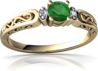 14kt Gold Emerald and Diamond 4mm Round filligree Scroll Ring
