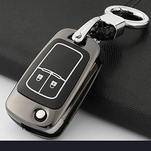 ontto Autoschlüssel Hülle Cover für Opel Vauxhall Astra Insignia Mokka Zafira Corsa D E Karl Viva Zinklegierung Schlüsselhülle mit Schlüsselanhänger Schlüssel Schutz Etui Fernbedienung 2 Taste-Schwarz