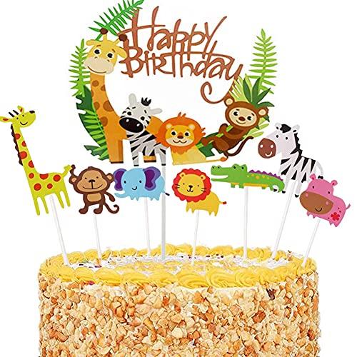 36 Piezas Decoración de la Torta de la Selva,Adorno Pastel Cumpleaños Animales,Decoracion Tarta Animales,Cute Zoo/Jungle Theme Animal Cake Topper,Decoraciones Fiesta Cumpleaños Baby Shower