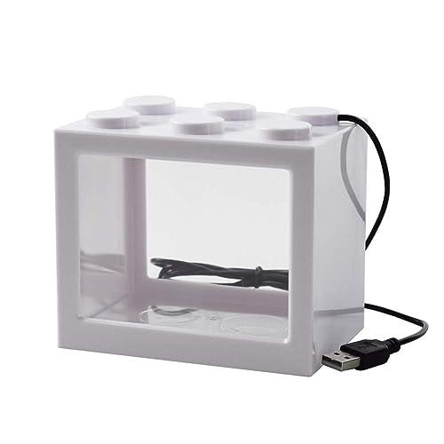 Omem USB Mini Fish Tank, bureau Micro-landscape LED Fish Tank, kit d'aquarium, les blocs de construction superposées Fish Tank