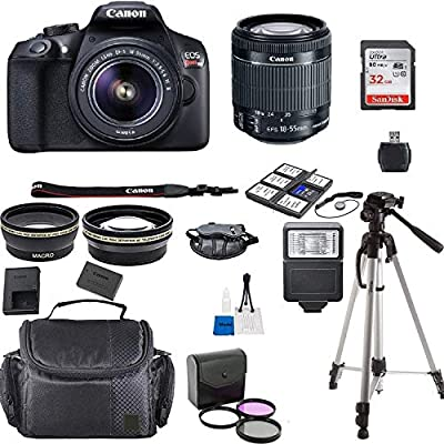 Canon EOS Rebel T6 Kit with EF-S 18-55mm f/3.5-5.6 is II Lens + Accessory Bundle + Model Electronics Cloth from Canon Intl