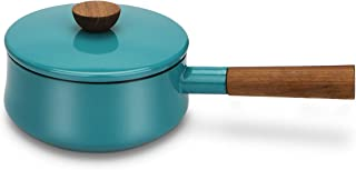 AIDEA Enameled Sauce Pan Cast Iron 2-Quart, Wooden Handle Handy Pot for Barbecue Saucepot-Turquoise