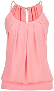 Women's Loose Pleated Round Neck Drawstring Lace-Up Camisole Tank Tops Wrinkled Vest