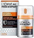 L'Oréal Men Expert Hydra Energy Comfort Max Gesichtscreme, die nicht-fettende Gesichtspflege für sensible und trockene Männerhaut ist die ideale Tages- und Nachtcreme