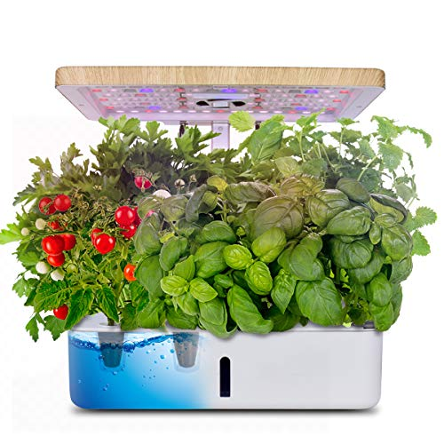 Moistenland Hydroponics Growing System,Indoor Herb Garden Starter Kit w/LED Grow Light,Plant...