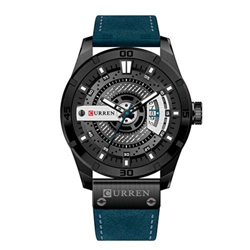 CURREN 8301 Top Marque De Luxe Montre Hommes Date Affichage en Cuir Creative Quartz Poignet Montres Bleu