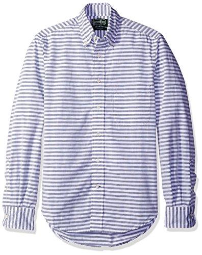 Gitman Vintage Men's Dots & Stripes Button-Up Shirt, Navy, S
