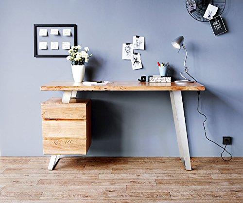DELIFE Bürotisch Live-Edge Akazie Natur 147x62 massiv Baumkante 3 Schübe Schreibtisch