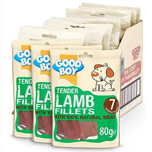 Good Boy Lamb Sabor Perro golosinas – Deli Dog Treats – Filetes de Cordero – 80 GE, Paquete de 10 – sin Sabor Artificial