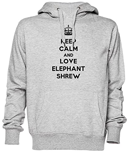 Keep Calm and Love Elephant Shrew Gris Sweat À Capuche Sweat-Shirt Jersey Unisexe Homme Femme Taille XS Grey Unisex Hoodie Size XS