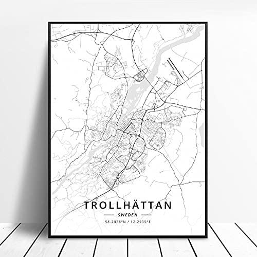 Lldkoplng Uppsala Linkoping Malmö Trollhättan Helslngborg Sweden Canvas Art Map Poster ?ZQ-1395? Ingen ram poster 40x50cm
