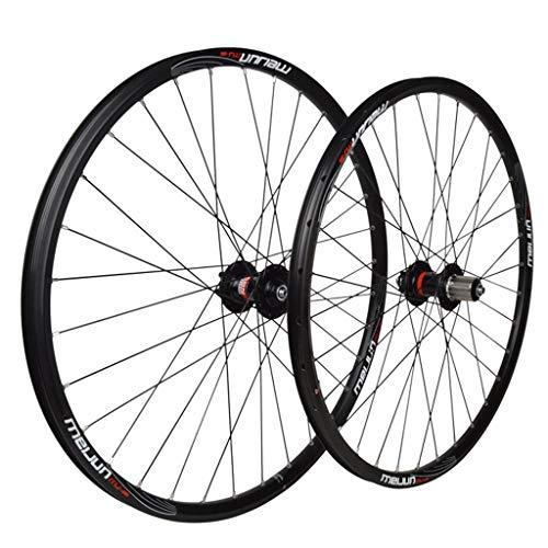 MZPWJD Ciclismo Ruedas Juego Ruedas Bicicleta 26' para Bicicleta Montaña Aleación Aluminio MTB Llantas Doble Pared Freno Disco 7-10 Velocidades Tarjeta Hub 6 Rodamiento Sellado QR 32H (Color : Black)