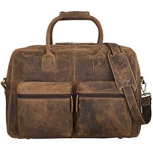 STILORD Vintage Borsa Uomo Grande Marrone / XL / Borsa a Tracolla / da Ufficio / Portadocumenti Piccola borsa da viaggio Valigetta 24 ore Cuoio