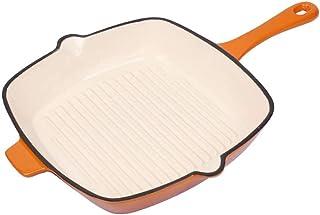 Induction Cooker Baking Pan Enamel, Square Pan Fried Steak Plate, Cast Iron Baking Pan Induction Cooker Gas Universal (Color : Orange)