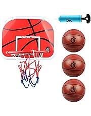 DBREAKS Koszyk do koszykówki do pokoju, zawiera 1 mini kosz, 3 piłki, 1 pompkę do piłek, tylną tablicę do zawieszenia na drzwiach, dla dzieci i dziewczynek w wieku od 6 7 8 lat