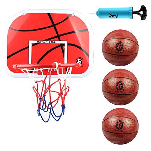 DBREAKS Basketballkorb fürs Zimmer, Enthält 1 Mini Basketball Korb, 3 Bälle, 1 Bälle Pump, Backboard zum an die Tür hängen für Kinder Junge Mädchen ab 6 7 8 Jahre Alt