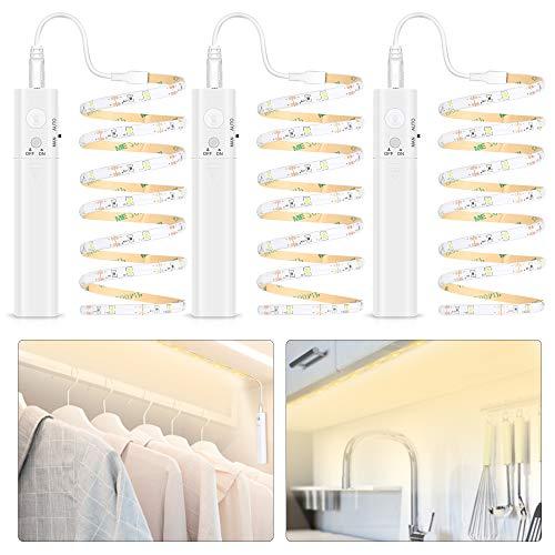 LED Band mit Bewegungsmelder, 3 Stück 1M LED Streifen Schrankbeleuchtung, Batteriebetrieben Schranklicht 2700-6500K Warmweiß, Überall Aufkleben Nachtlicht für Kinderzimmer, Schlafzimmer, Treppe