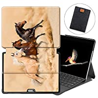 MAITTAO Case for Microsoft Surface Go, Smart Slim Folio Stand Type Cover Keyboard for Surface Go 10 inch 2018 with Built-in Surface Pen Holder & Tablet Sleeve Bag 2 in 1 Bundle, Akhal-Teke Horse 1