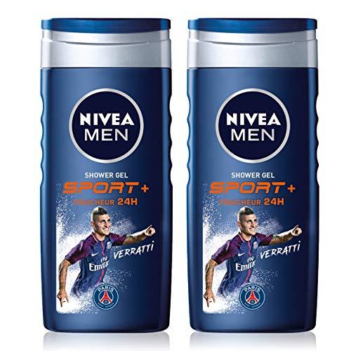 NIVEA MEN Gel Douche Sport 3 en 1 (2 x 250 ml), gel douche homme pour corps, visage et cheveux, nettoyant doux après sport, savon douche revitalisant & fraîcheur 24 h