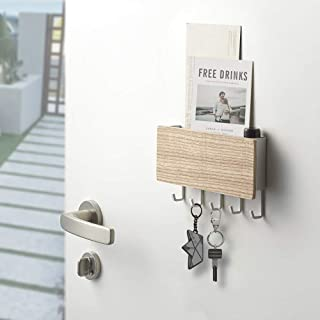 Key Holder for Wall Entryway Mail Holder for Wall Adhesive Key Rack for Wall with 5 Key Hook Wall Key Holder Key Hanger fo...