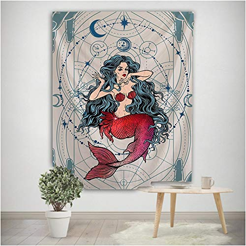 Tapiz de Luna y Sirena Mandala Tapiz de Pared Hippie Mobiliario para el hogar Boho Paño de Pared Manta Paño de Fondo A4 130x150cm