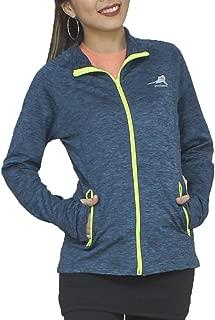 ryandrew Women's Fleece Full-Zip Pocketed Collared Long Sleeved Running & Track Jacket with Thumb Holes