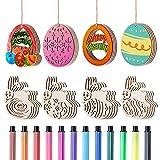LIHAO 32pz Decorazioni di Pasqua Coniglio Uova di Pasqua Ornamenti Pendenti in Legno 32pz ...