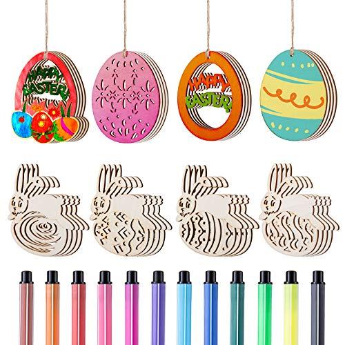 LIHAO 32pz Decorazioni di Pasqua Coniglio Uova di Pasqua Ornamenti Pendenti in Legno 32pz Corde sospese, 12pz Penne da Colorare per Albero Decorazioni Pasquali Festa Compleanno