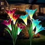 Lampara Solar Flores,Swonuk 2 Luces Solares con 8 Flores de Lirio Luces Exterior Lampara Energía Solar para Jardín, Patio, Césped Decoración