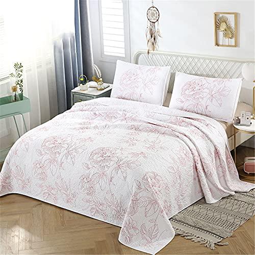 Juego de cama de 3 piezas con diseño de loto rojo bordado, edredón blanco, juego de cama con fundas de almohada, estilo lujoso, 224 x 234 cm