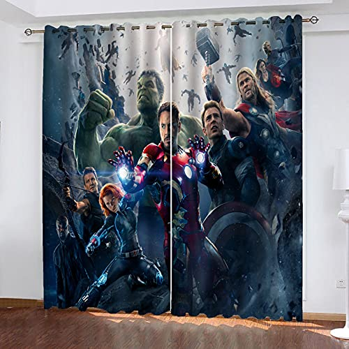 Fgolphd Marvel Avengers - Juego de cortinas opacas para dormitorio con impresión 3D del Capitán América Iron Man para habitación de los niños, decoración del salón (100 × 140 × 10)
