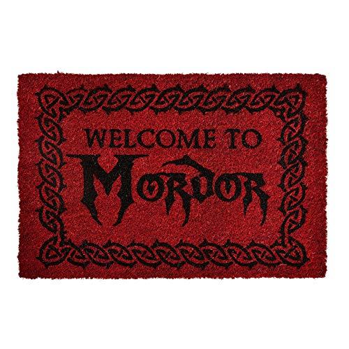 Herr der Ringe Elbenwald Fußmatte Welcome to Mordor Motiv 60 x 40 x 1,5 cm Kokos rutschfes rot