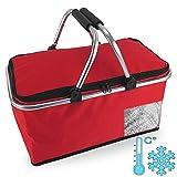 Cepewa Cesta de la compra plegable con función térmica, 30 L, bolsa isotérmica, cesta de pícnic, bolsa aislante (rojo con función térmica)