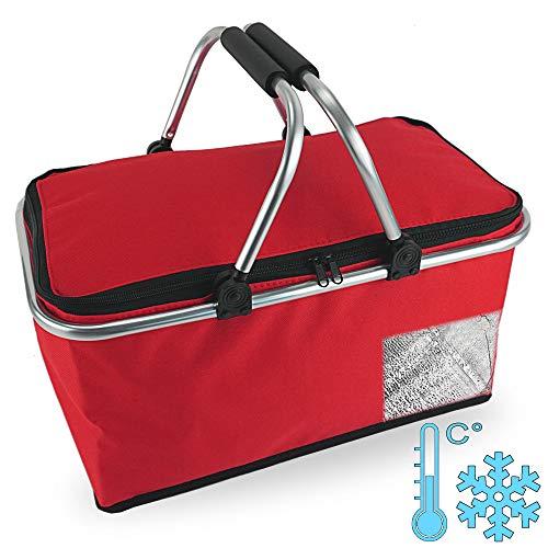 Cepewa Einkaufskorb faltbar mit Thermofunktion 30 L Kühltasche Thermokorb Picknickkorb Isoliertasche (rot mit Thermofunktion)
