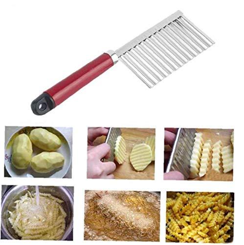 Aisoway 1 Pcs Potato Knife Stainless Steel Potato Chip Dough Vegetable Crinkle Wavy Cutter Slicer Fruits Food