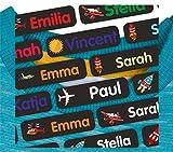 INDIGOS UG® Bügeletiketten Textil - 35-105 Stück - 35x10mm - Fliegen - schwarz - Kleidung - Kinder, Schule und Kindergarten - KITA - Wäscheschilder Namensschilder - Namensaufbügler