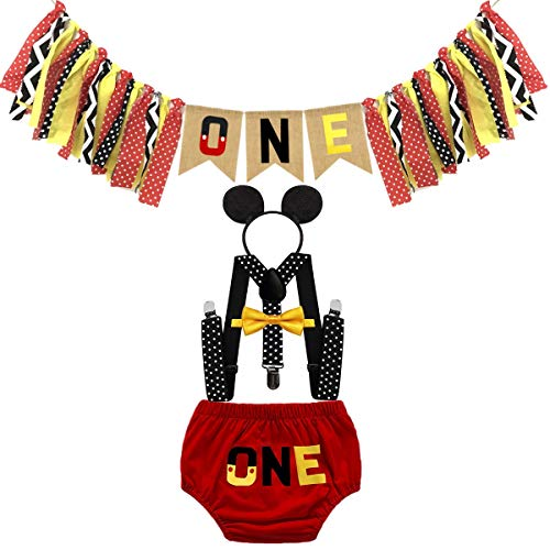 HIHCBF Baby Boys First Birthday Party Outfits Cake Smash Costume Highchair Banner ONE Bloomers Suspenders Bow Tie Headband Red 12-18M