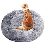 丸いペットベッド、ふわふわ落ち着かせるベッドぬいぐるみネスティング洞窟犬小屋デラックスペット猫ソファソフト快適なドーナツ抱き枕用特大犬-ライトグレー-XXXL:120cm、ペットパッド大