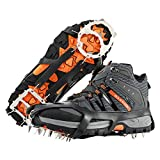 MoKo Ice Cleats 1 Pair, Walk Traction Ice Crampons for Shoes Boots for Men Women, Anti-skid Snow Grips with 18 Stainless Spikes for Walking, Hiking, Trekking, Climbing, Mountaineering - L Size, Black