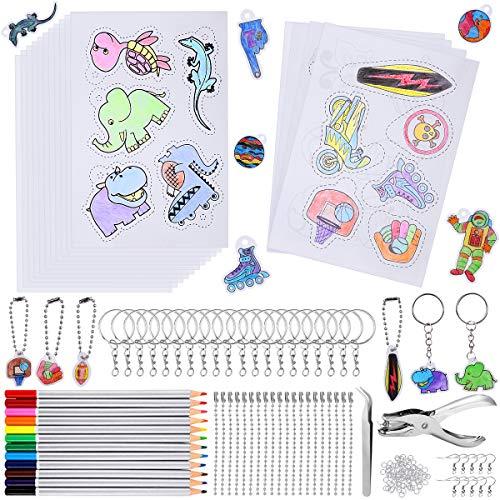 CGBOOM 179 Stück Schrumpffolie Set, Inklusiv A5 Schrumpfpapier, Schlüsselanhänger, Bleistifte, Kugelketten, Locher, Pinzette, Schrumpffolien Set für Kinder