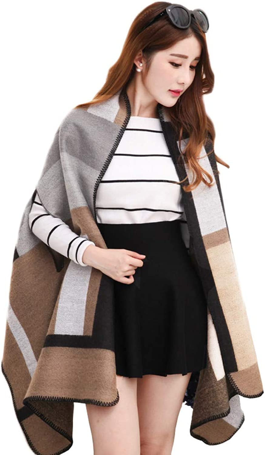 AchangScarf Shawl Scarf Ladies Dualuse Korean Version of The Wild Winter Large Size Thick Warm Cloak Jacket (color   A)