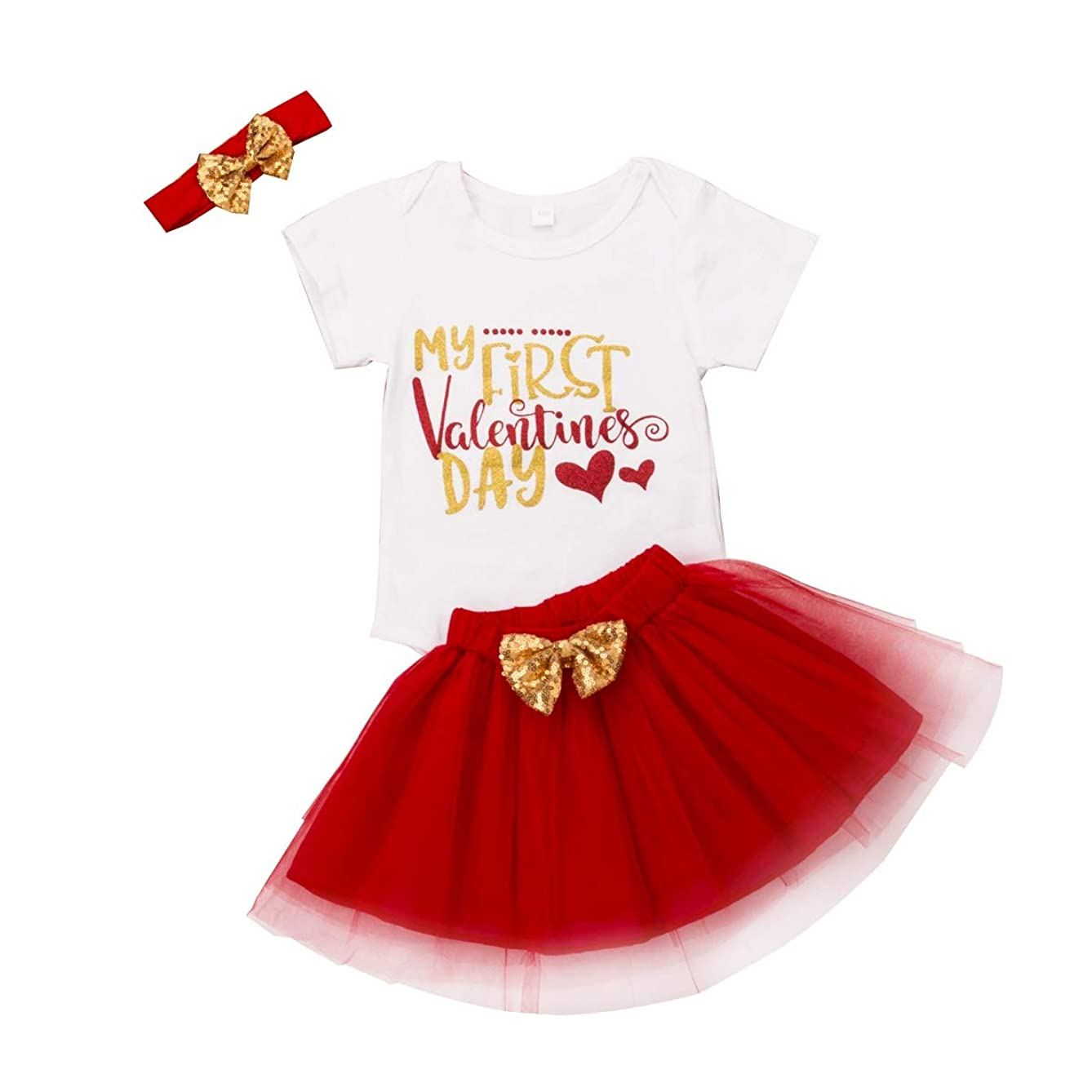 Newborn Infant Baby Girl Clothes My First Valentines Day Romper Tulle Tutu Skirt Headband Outfit Clothing Set