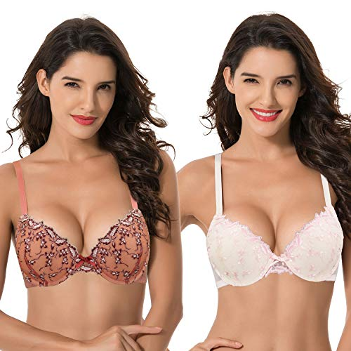 Curve Muse Women's Plus Size Add 1 Cup Push Up Underwire Lace Embroidery Bras-2PK-BUTTER Milk,Mecca Orange-46B