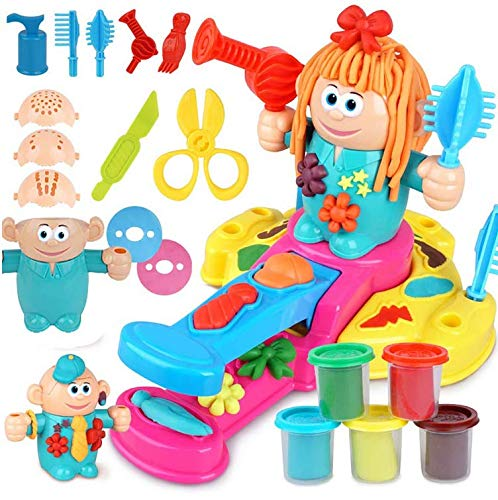 UChic DIY Exquisite Handmade Creative Hair Grow Toys Hair dresser 3D Color mud crazy barber Shop theme Kids Play Clay Dough Mould Plasticine Tool Set