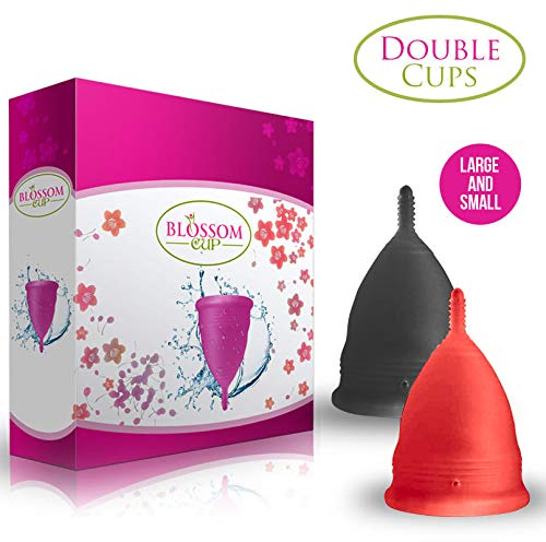 Blossom Menstrual Cup Double Cups Lg Red amp Sm Black