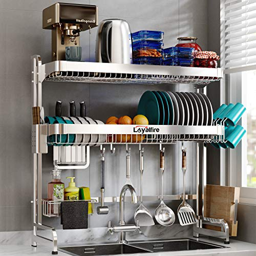 Over Sink Dish Drying Rack Loyalfire 2 Tier Full Stainless Steel Large Storage Adjustable Kitchen Dish Rack 2441-376 Expandable Dish Drainer Shelf Rack with Utensil Holder Cup Hanging Set
