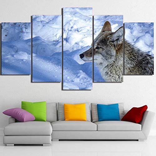 rkmaster-Wohnkultur plakfolie woonkamer muurkunst 5 panelen sneeuw wolf landschap modern schilderij canvasfoto Hd Print