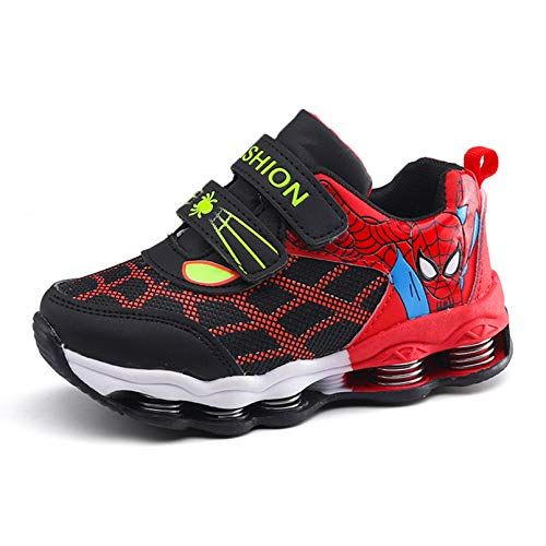 XNheadPS Spiderman Enfants Baskets Garçons Casual Lightweight Sport Chaussures Printemps Automne Enfant en Bas âge Tennis Respirant Chaussures de Sport,Red- 27 Foot Length 15.7CM